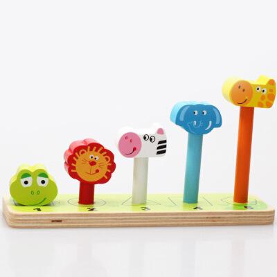 木制玩具 森林动物平衡木宝宝平衡感积木 动物叠叠高科教