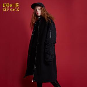 妖精的口袋无聊听戏冬装新款宽松立领长款毛呢大衣外套女