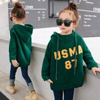 女童加绒卫衣冬装2017新款童装韩版儿童字母套头连帽加厚保暖上衣