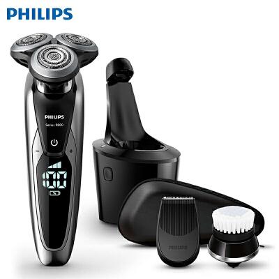 飞利浦(PHILIPS)电动剃须刀 多功能理容 全身水洗 刮胡刀 干湿两用(带智能清洁器) S9781/35 8向感知科技,V型准确剃须,充电指示灯提示