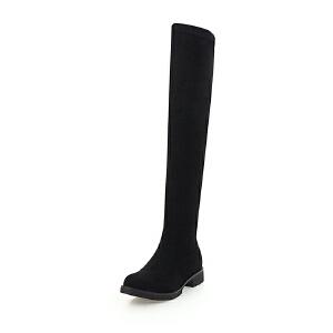 ELEISE美国艾蕾莎新品秋冬133-615韩版磨砂牛皮平跟女士过膝长靴