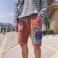夏季水洗拼接宽松破洞牛仔短裤子韩版男士休闲五分裤学生沙滩裤潮