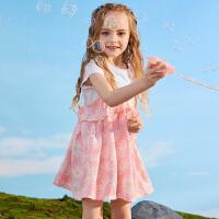 【2件5.5折价:82】小猪班纳童装女童连衣裙2020春夏新款圆领短袖T恤裙子套装