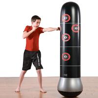 健身充气拳击柱不倒翁充气沙袋沙包泄愤玩具送打气筒 1.6米黑色柱 送健身手套 加厚料