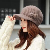 帽子女秋冬季时尚韩版针织帽保暖贝雷帽毛线帽时尚加厚护耳帽兔毛帽