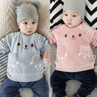 0-3-6-9-12个月婴儿加绒上衣冬季 男女宝宝套头保暖绒衫0-1岁新款