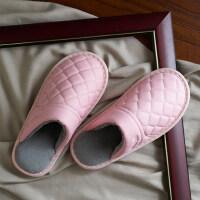 保暖棉拖鞋女室内情侣居家地板防水防滑毛绒皮拖鞋男