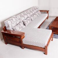 现代新中式实木沙发组合榆木家具客厅实木布艺转角贵妃沙发