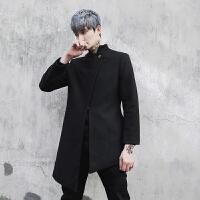 呢大衣男中长款韩发型师外套男潮新款夜店夹克个性潮流韩版