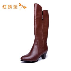 【专柜正品】红蜻蜓女鞋纯色拉链百搭潮流过膝靴