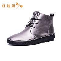 红蜻蜓女鞋秋冬新款牛皮革防水正品女系带防滑舒适靴平底高帮鞋