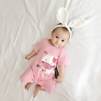 婴儿连体衣服宝宝新生儿季01岁8个月春款短袖哈衣平角爬服