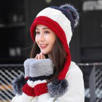 青年防寒保暖子 女士加绒毛线帽子 新款帽子手套二件套女 韩版百搭针织帽