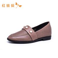 红蜻蜓女鞋新款乐福鞋真皮平底鞋英伦小皮鞋时尚舒适休闲鞋-