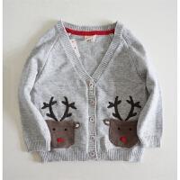 英伦风 有温暖有厚度 男童秋冬款 针织开衫 小鹿口袋 灰毛衣外套
