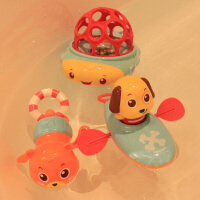 洗澡戏水玩具游泳划水拉绳拉线上弦上劲发条玩水婴幼儿漂浮玩具