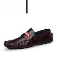 春夏款鳄鱼纹手工皮鞋英伦男士懒人休闲鞋青年潮流豆豆鞋男驾车鞋牛皮鞋