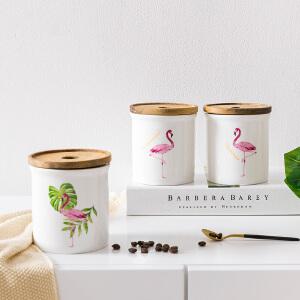 奇居良品 ins风火烈鸟陶瓷骨瓷密封罐食品零食茶叶储存罐储物罐