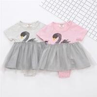 女宝宝哈衣公主裙子夏装婴儿连体衣3包屁衣6夏天衣服0-12个月1岁