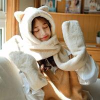 兔子耳朵帽子女秋冬季时尚可爱冬天毛绒围巾一体护耳保暖手套三件套潮