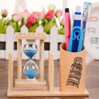 创意沙漏笔筒可爱小学生桌面收纳盒学生笔筒办公用品实木健康
