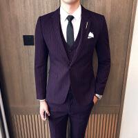 绅士英伦西服套装男士条纹三件套修身韩版套装