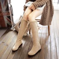 彼艾2017秋冬新款休闲高筒靴坡跟内增高女靴蕾丝花边大小码女靴子