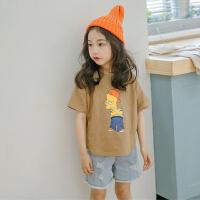 大女童短袖上衣夏季儿童女 休闲t恤亲子装韩版宽松卡通动漫打底衫