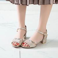 凉鞋 女士时尚洋气休闲鱼嘴鞋2019夏季新款韩版粗跟低帮防滑女式潮流时装女鞋中跟鞋