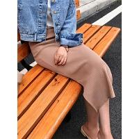 百搭显瘦针织半身裙修身包臀中长侧开衩简约一步裙女2018秋装新品