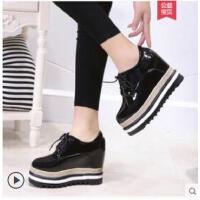 松糕鞋女厚底内增高单鞋坡跟原宿软妹小皮鞋zipper新款女鞋