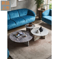 北欧大理石茶几小户型简约现代客厅圆茶几创意设计师家具简易茶台定制 组装
