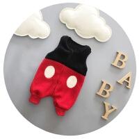 婴儿连体衣秋冬宝宝羊羔毛背带裤加绒加厚男童马甲连体裤0-1岁潮