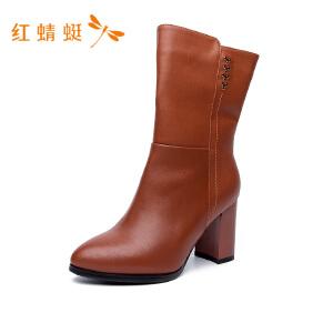红蜻蜓尖头粗高跟侧拉链简约纯色时尚女靴子