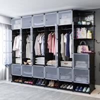 衣柜简易布衣柜单人挂衣柜塑料储物柜卧室收纳柜子租房钢管加粗