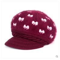中老年人帽子女毛线帽兔毛妈妈帽围巾加绒加厚针织保暖老人帽