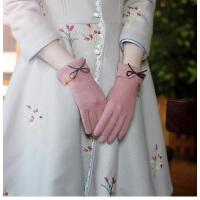羊毛手套女加绒加厚保暖触屏手套学生可爱韩版薄款开车手套女