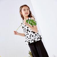 【2件3折:53】巴拉巴拉旗下巴帝巴帝童装2019春夏新款女童无袖短裤套装黑白波点两件套