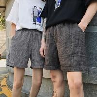 情侣装夏季新款韩版宽松男女青少年学生五分休闲中分短裤班裤