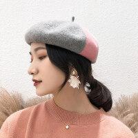 百搭潮日系街头时尚帽子拼色复古贝雷帽羊毛贝雷帽女