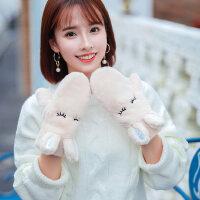 韩版学生甜美挂脖防寒加厚加绒毛绒保暖可爱卡通包指手套女