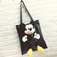韩版新款女包可爱卡通米奇托特包大包简约单肩包大容量手提包 黑色 米奇