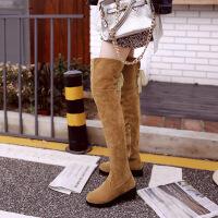 彼艾2017秋冬新款磨砂系带防水台高筒靴弹力靴瘦腿长靴厚底粗跟过膝女靴子
