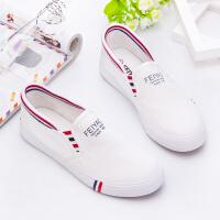 一脚蹬帆布鞋女学生春季2018女鞋小白鞋卡通涂鸦韩版平底布鞋