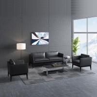 办公沙发茶几组合小型商务沙发简易办公室沙发休闲会客皮艺沙发 ++