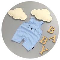 婴儿背带裤夏季薄款新生儿连体衣无袖0-3-6个月男童连体裤子韩版