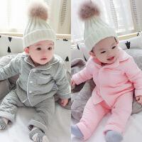 蓓莱乐儿童女婴儿内衣3个月男宝宝冬季保暖打底衫睡衣套装秋冬装