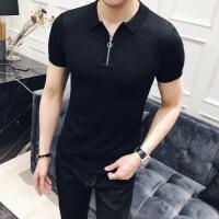 男士短袖��衫薄款商�招蓍e衫��性�n版修身毛�衫打底衫