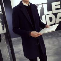 新款欧美风秋男士西装领韩版中长款毛呢风衣外套男英伦潮流大