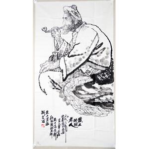 F刘文西  黄土地的老人 纸本软片 137*69